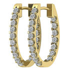 New VS1/G Hoops Huggie Earrings 1.01 Ct Natural Diamond Jewelry 14Kt White Gold