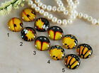 12mm 16mm 20mm cab Handmade Photo glass cabochon Butterfly Wing Yellow 12B009