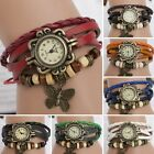 Women Vintage New PU Leather Bracelet Butterfly Decoration Quartz Wrist Watch