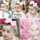 Cute Baby Girls Kids Pearl Headband Bow Lace Flower Hairband Wedding/Christening