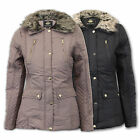 Ladies Jacket Brave Soul Womens Coat Diamond Quilted Padded Fur Collar Lined New