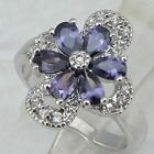 Size6 7 8 9 Nice Purple Amethyst Flower Jewelry Gold Filled Woman Gift Ring K858