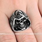 1pc Mens Stainless Steel Death Skull Biker Finger Ring Jewelry Fashion Style