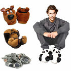 Men Novelty Funny Scooby Dog Slipper Brown Slippers Mules Shoes UK Size 7-12