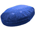 pd1025r Old-Metallic Blue Faux Crocodile Glossy Leather Round Box Cushion Cover