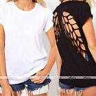 Fashion Womens Backless Hollow Back Wing Cut out Crew Neck Blouses T-Shirt Tops