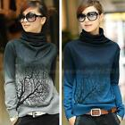 Women Turtleneck Branch Print Sweater Gradient Color Pullover Sweater Tops PHNG
