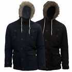 Mens Brave Soul Faux Fur Hooded Parka Padded Fishtail Winter Jacket Coat Top