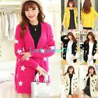 New Casual Women Stars Long Sleeve Mohair Knitted Sweater Cardigan Warm Coat