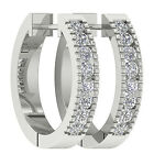 VS1/G Hoops Huggie Earrings 0.50Ct Round Diamond Jewelry White Gold 360° Video