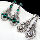 vintage antique jewellery white green glass crystal rhinestone dangle earrings
