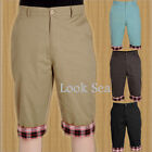 Mens Cotton Shorts Knee Length Half Lattice Flanging Cropped Pants Trousers