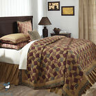 Green Burgundy Floral Primitive Plaid Country Home Quilt Bedding Set Collection