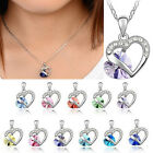 New Fashion Heart Crystal Rhinestone 925 Sterling Silver Chain Pendant Necklace