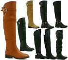 WOMENS OVER THE KNEE HIGH BOOT LADIES LOW HEEL RIDING BIKER BOOTS SHOES SIZE