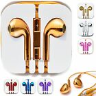 Gold Earphones for iPhone 5 5C 4S 4 iPod Nano W/ Mic & Remote Headset Headphones