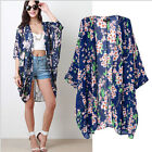 Retro Boho Ladies Hippie Floral Loose Style Kimono Cape Blouses Blazer Jacket