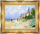 Framed Print Art The Boardwalk at Trouville Claude Monet Painting Reproduction