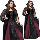 CL118 Womens Gothic Maiden Vampiress Halloween Fancy Dress Adult Costume Plus