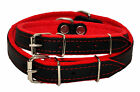 Real Leather DOG COLLAR Glossy BLACK with RED FELT LINING Handmade