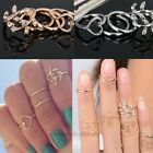 4PCS/Set Rings Urban Gold Plated Crystal Plain Above Knuckle Ring Band Mini Ring