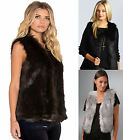 Ladies Faux Fur Sleeveless Vest Waistcoat Gilet Shrug Jacket Coat Body Warmer