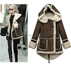 Women Lady Thicken Parka Hooded Coat Trench Padded Double Breasted Jacket 35DI
