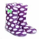 GIRLS WELLIES BOOTS SIZE 2 PURPLE SPOTS WELLY BOOTS