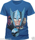 Official Thor Head T Shirt Mens Blue S M L XL XXL Marvel Avengers Assemble