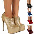 LADIES CONCEALED PLATFORM SHOE WOMENS ANKLE BOOTS HIGH HEEL STILETTO UK SIZE 3-8
