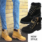 LADIES ANKLE BOOTS WOMENS COMBAT LACE UP MILITARY WORKER GOLD ZIP SIZE UK 3-8