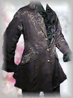 Victorian Black Frock Coat Brocade Vintage Goth Steampunk Wedding Edwardian