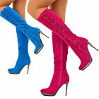Womens Knee High Boots Stiletto Chrome High Heel Ruffle Diamante Suede Boot Size