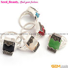 New Various Rectangle beads Tibetan Silver Marcasite Ring 12x20mm Size US #6-#9