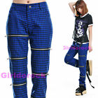 PUNK VISUAL KEI SLIM 71289 PRINTED BLUE PANTS size S-XL