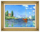 Red Boats, Argenteuil Claude Monet Painting Reproduction Framed Canvas Art Print
