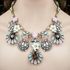vintage antique style jewellery multi colour flower rhinestone bib necklace