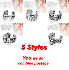 New Design Rhodium Plated Brass Non Piercing Ear Cuffs, 4 Styles 9mm Width