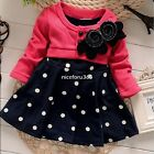 Girls Dress Flower Polka Dot Wedding Pageant Party Kids Clothes Size 3-7 Y New
