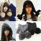 Women Winter Warm Oversized Crochet Knitted Ski Cap Baggy Beanie Ball Ear Hat
