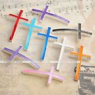 5x Silver Plated Enamel Cross Charm Bracelet Connector Beads Finding Making DIY
