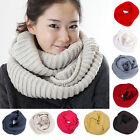 NEW Unsex Winter Warm Infinity 2 Circle Cable Knit Cowl Neck Long Scarf Shawl