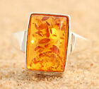 GENUINE BALTIC AMBER RING FROM POLAND * .925 PURE STERLING SILVER * HONEY p100