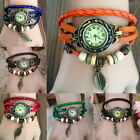 Womens/Girls Pretty Retro Leather Bracelet Leaf Decoration Quartz Wrist Watch