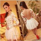 Women Sexy Lace Hollow Embroidery Long Sleeve Cocktail Evening Mini Dress NEW