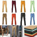 Casual Mens Regular Fit Cotton Trousers Straight Leg Skinny Pants Chino Bottoms