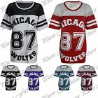 Womens Baggy Chicago 87 Wolves Varsity Oversize Ladies Baseball T Shirt Long Top