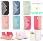 HOT STYLE Korean Lace Leather Wallet Stand Case Cover For Samsung Galaxy NOTE 4