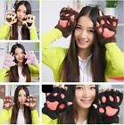 Vogue Girls Warm Soft Half Finger Gloves Thick Bear's Paw Mitten Furry Mitts Z