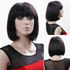 New Lady Bob Short Weave Cosplay Full Wigs Straight Brown/Black Hair Casual Wear